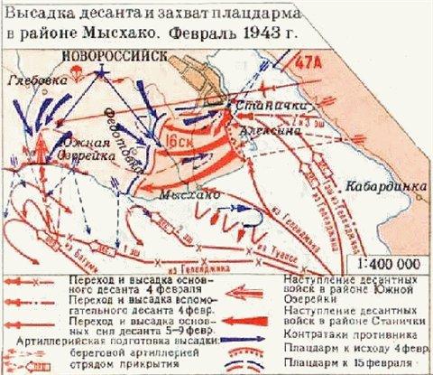 1943 год. Высадка десанта на 'Малую Землю'.Схема.